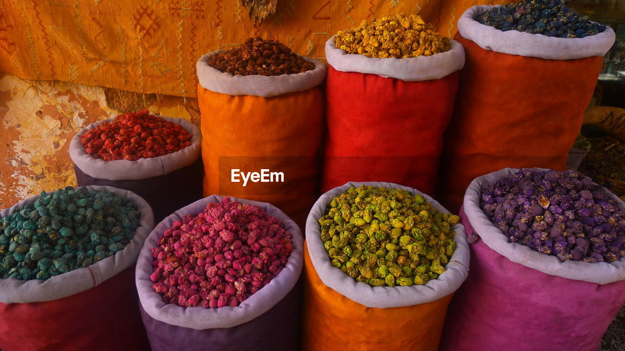 Colorful Dried Flowers In Sacks At Market For Sale