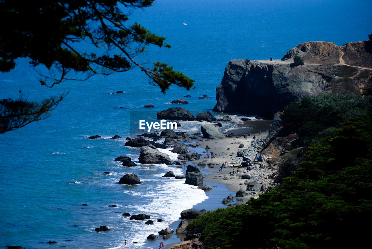 water, sea, rock, tree, beauty in nature, scenics - nature, nature, plant, rock - object, rock formation, solid, tranquility, land, tranquil scene, beach, day, sky, no people, cliff, outdoors