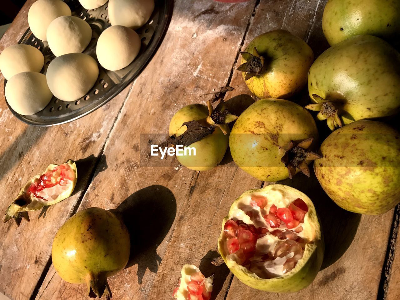 High angle view of pomegranates on table