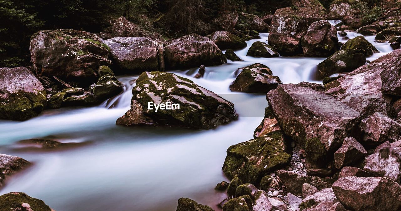 rock, rock - object, solid, water, beauty in nature, no people, nature, long exposure, scenics - nature, rock formation, tranquility, day, river, flowing water, motion, stream - flowing water, land, outdoors, flowing, shallow