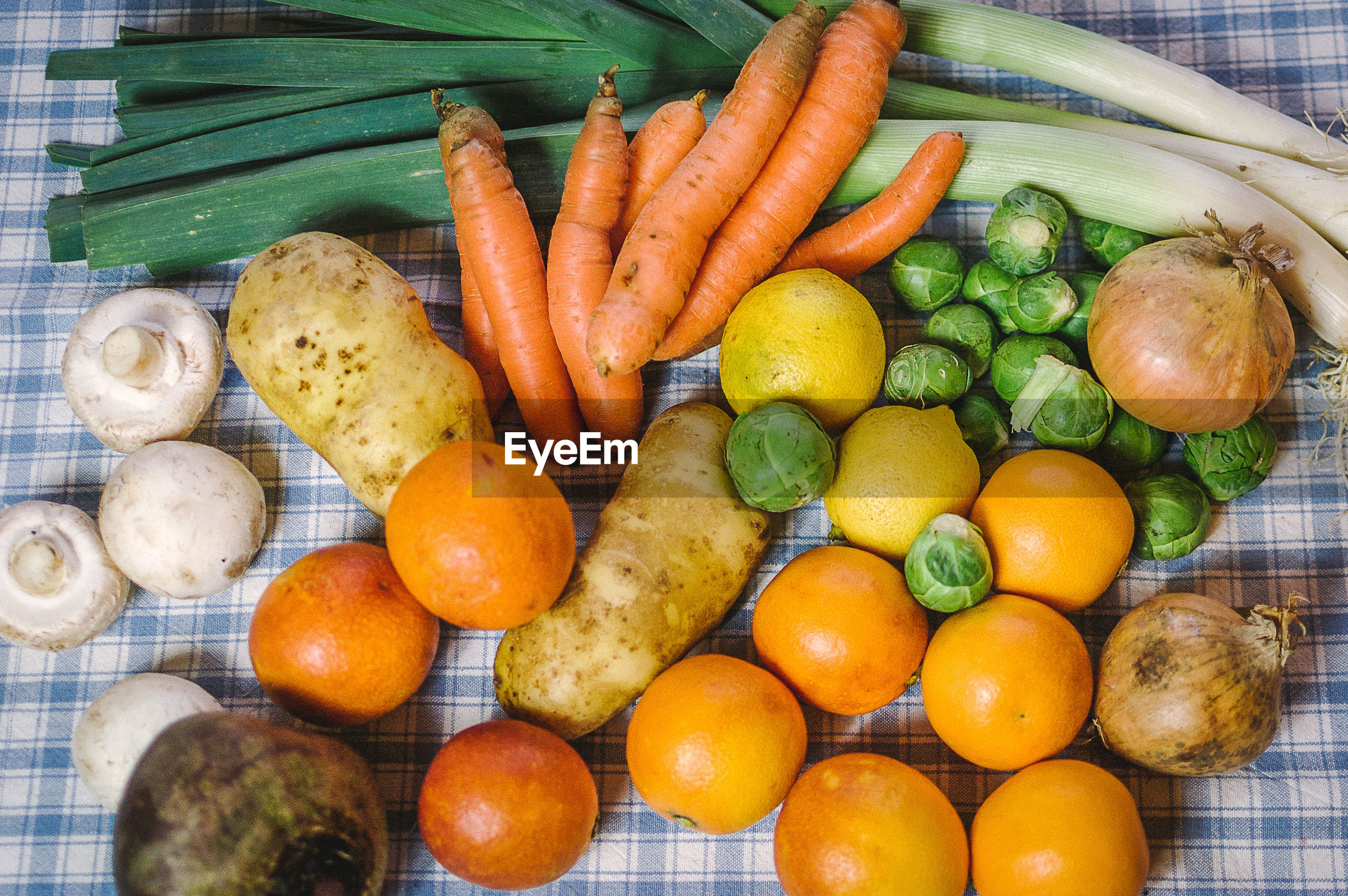 Close-up of vegetables and fruits on table