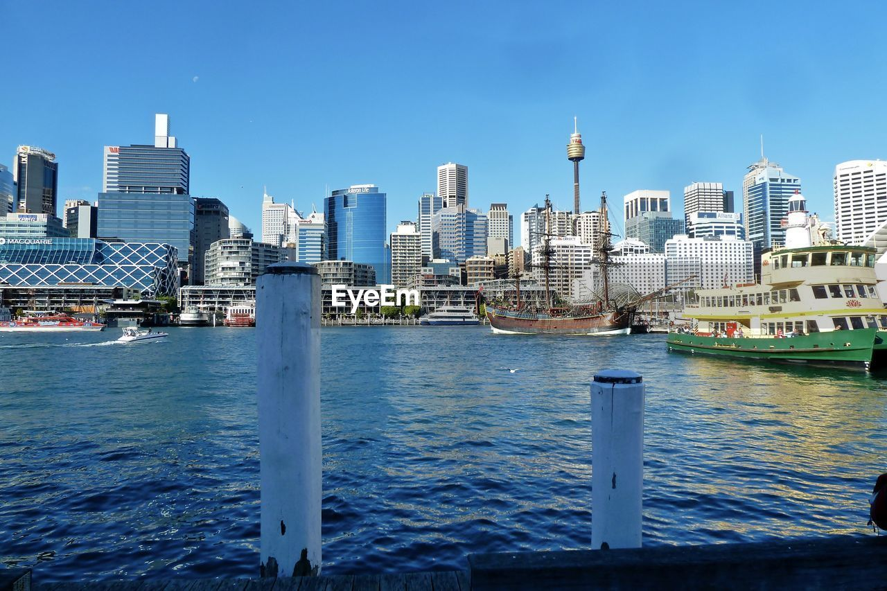 River Against Centrepoint Tower In City