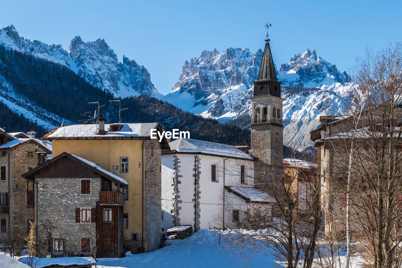 Forni di sopra winter. ancient mountain village. pearl of the friulian dolomites