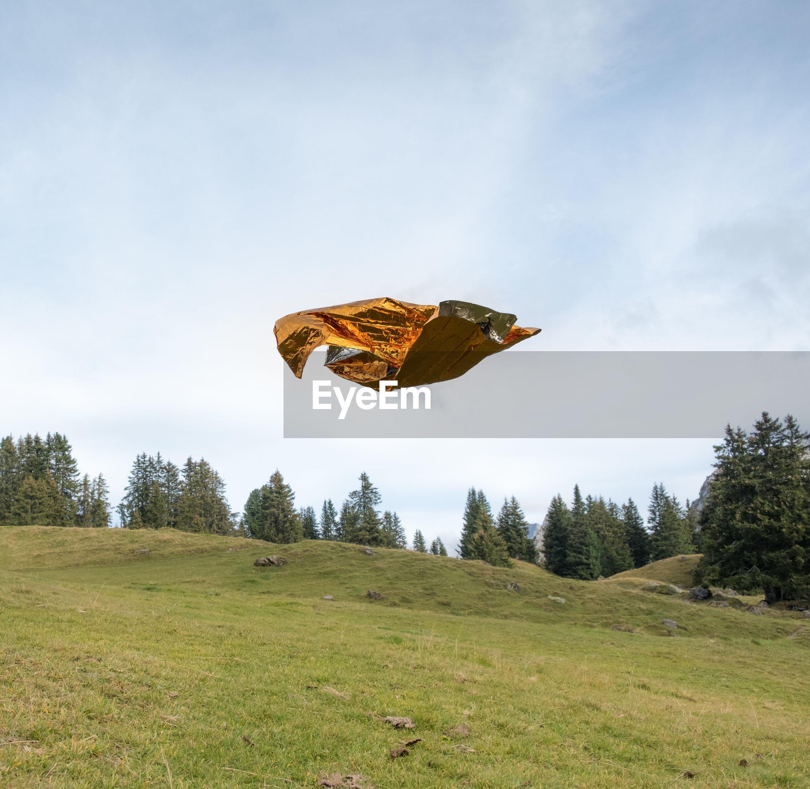 Foil flying over grassy field against sky