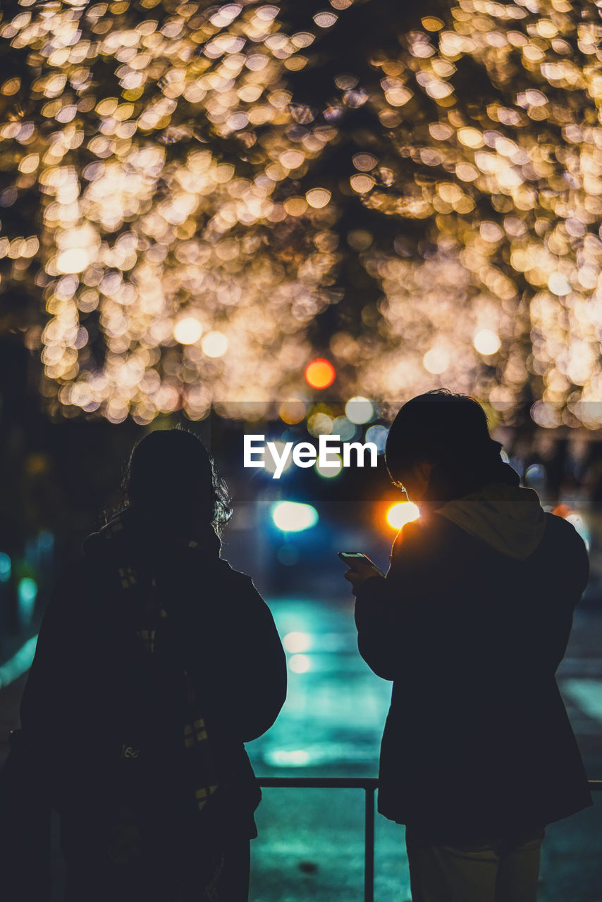 real people, two people, rear view, illuminated, lifestyles, women, leisure activity, men, adult, standing, nature, people, togetherness, bonding, focus on foreground, three quarter length, night, tree, outdoors, love, positive emotion, warm clothing, couple - relationship, lens flare