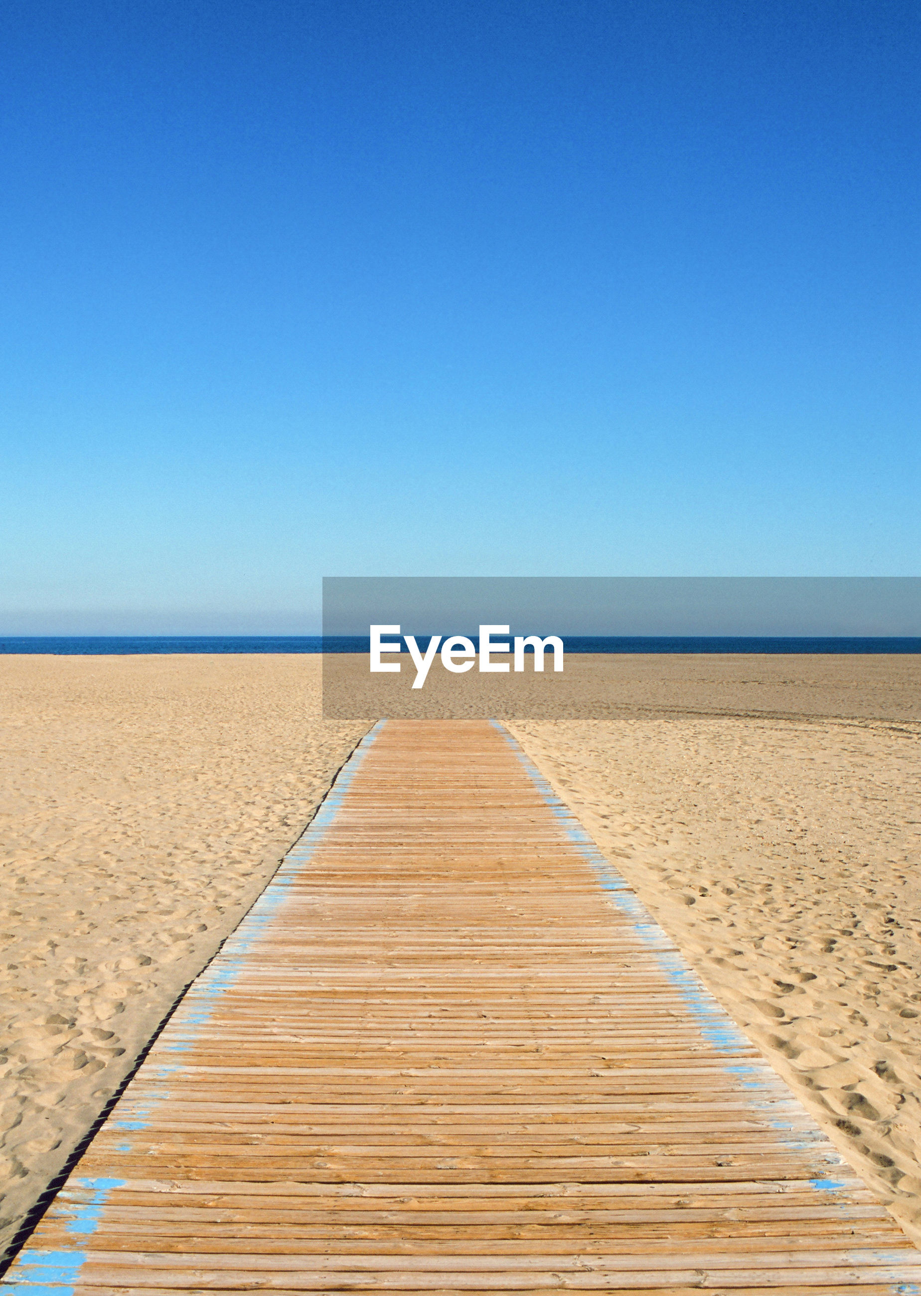 VIEW OF EMPTY BEACH AGAINST CLEAR SKY