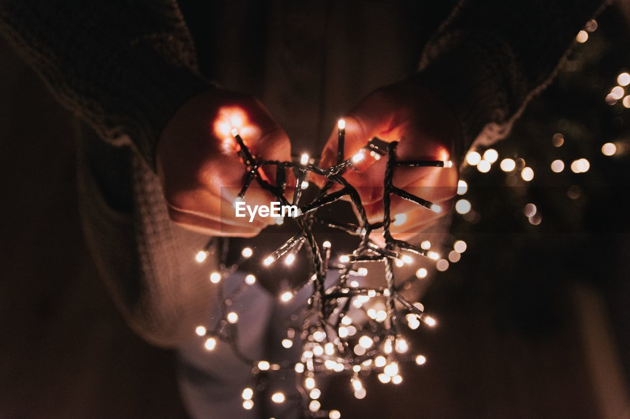 Close-Up Of Person Holding Fairy Lights
