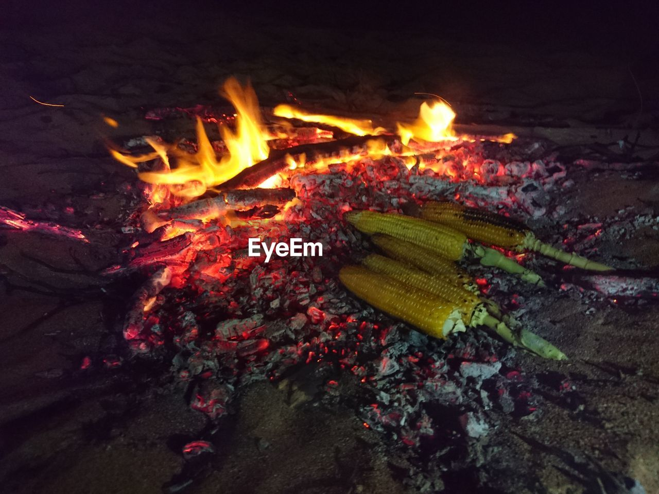 burning, flame, no people, high angle view, night, bonfire, outdoors, food, close-up