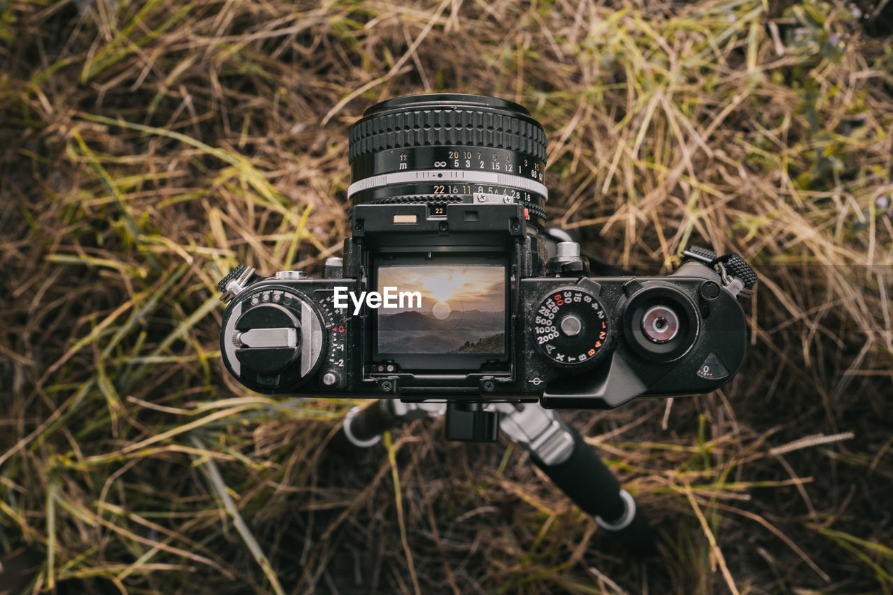 Digital camera photographing landscape