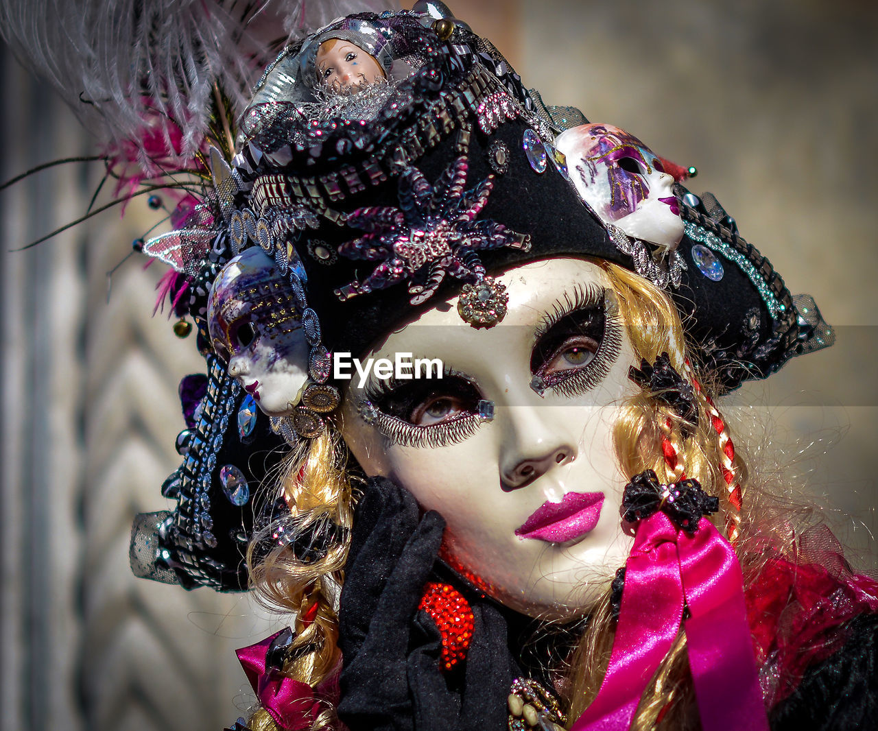 Close-Up Of Person Wearing Mask During Carnival