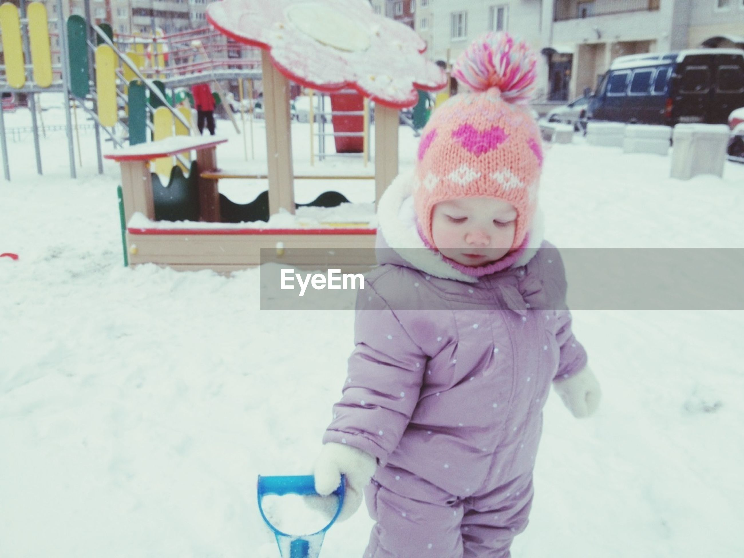 snow, winter, cold temperature, season, warm clothing, weather, childhood, lifestyles, leisure activity, front view, person, covering, white color, elementary age, portrait, looking at camera, cute, full length