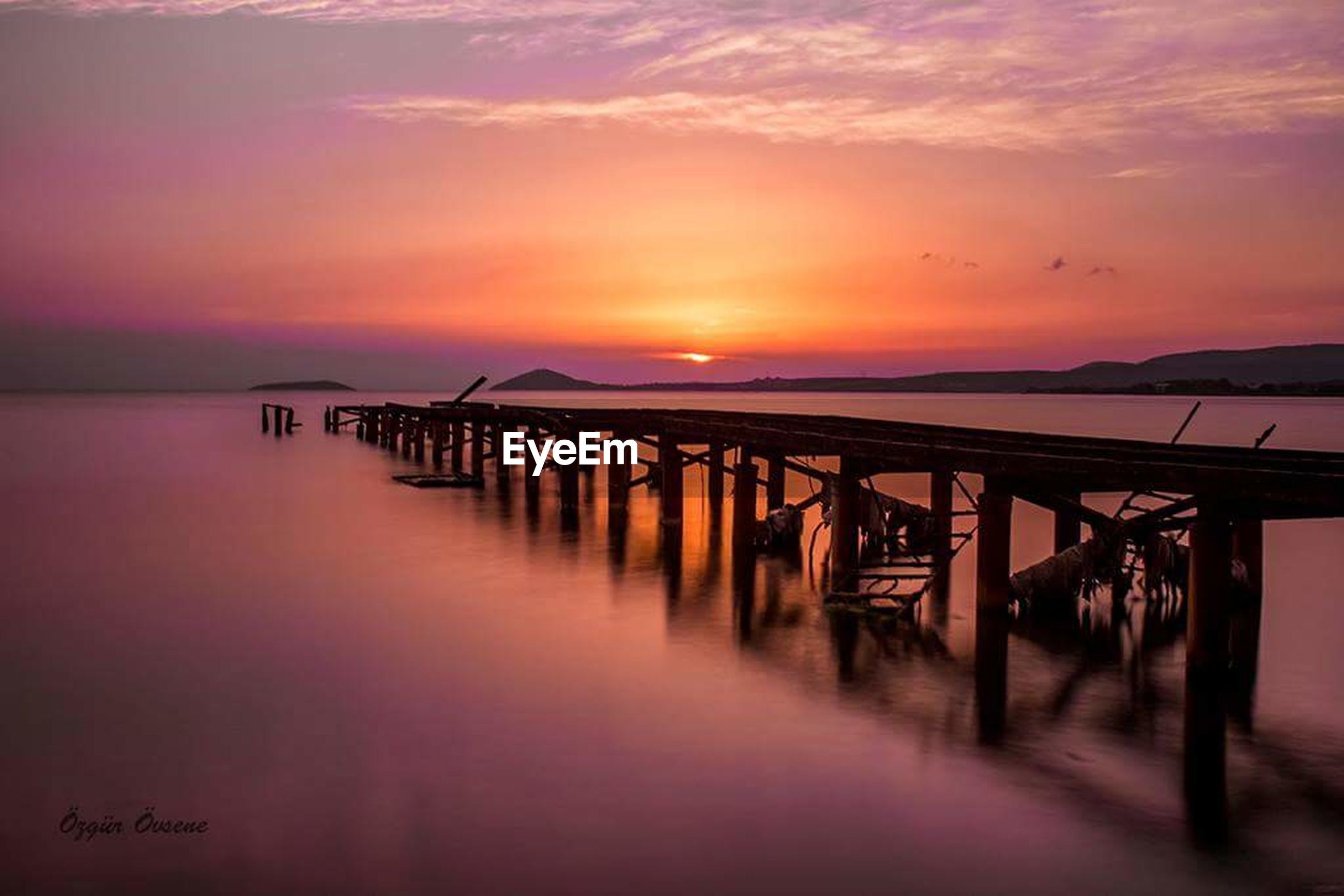 sunset, pier, sea, water, tranquility, romantic sky, outdoors, beauty in nature, landscape, nature, harbor, no people, sky