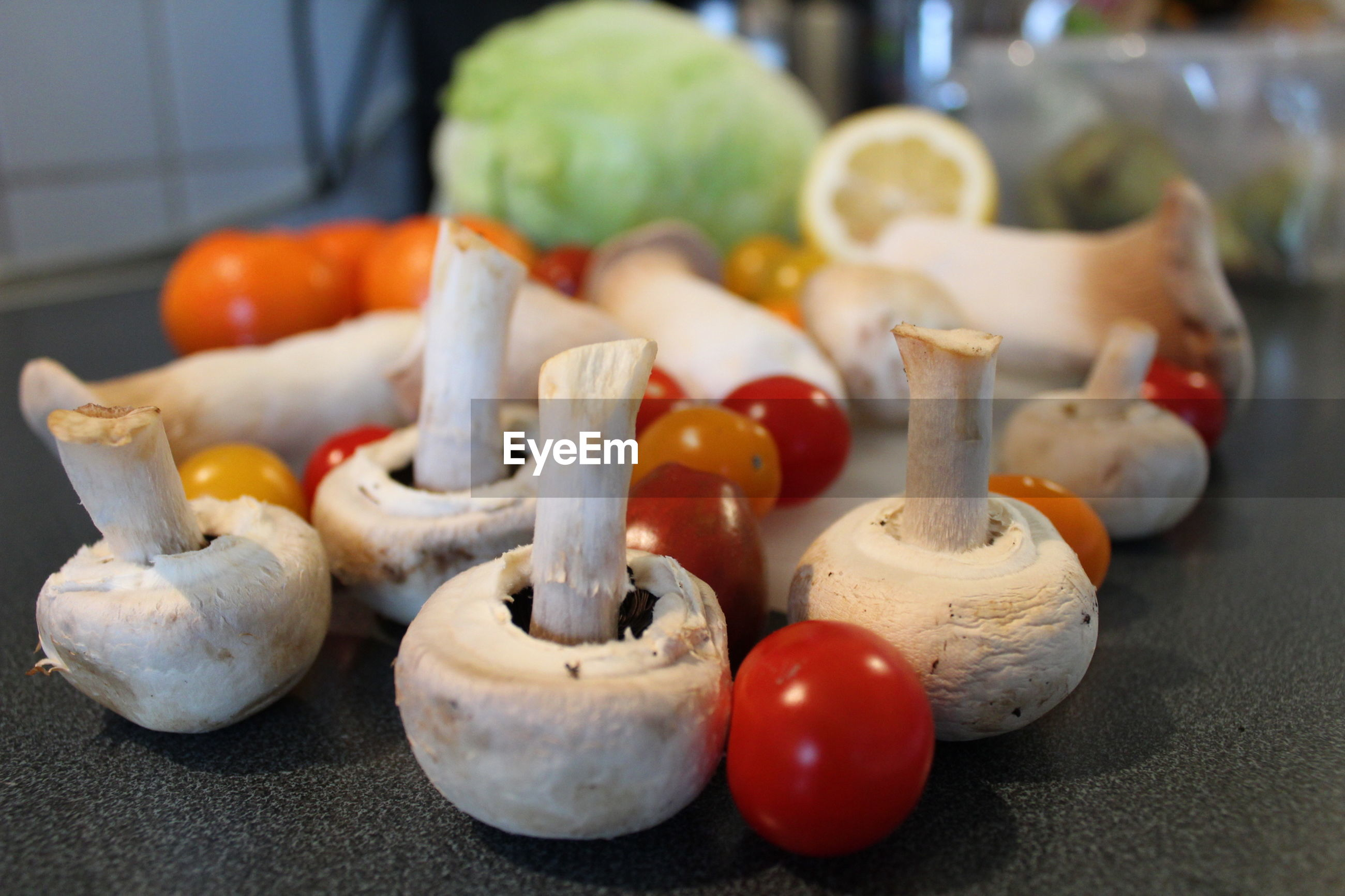 CLOSE-UP OF FRUIT AND VEGETABLES ON TABLE