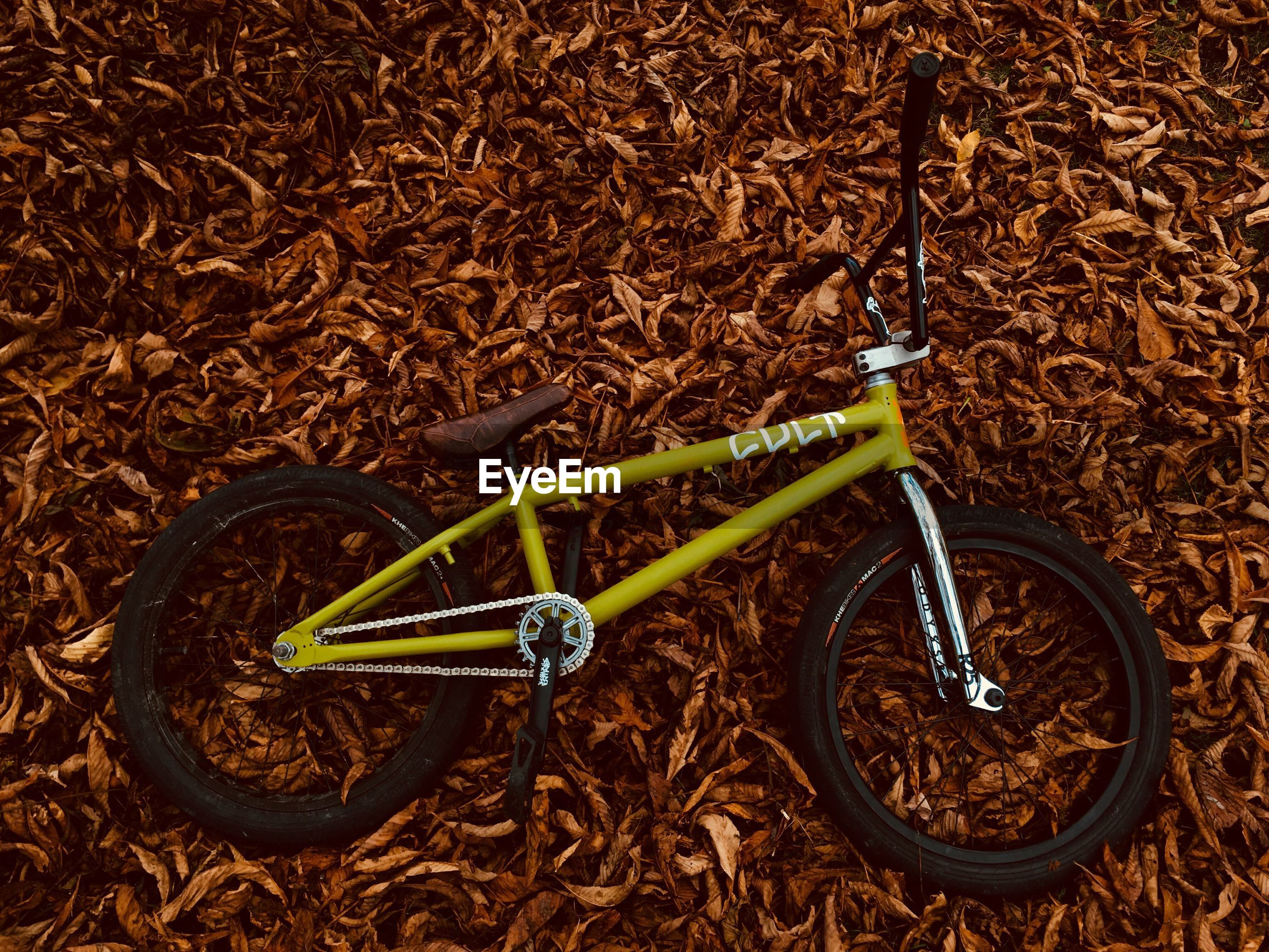 CLOSE-UP VIEW OF BICYCLES