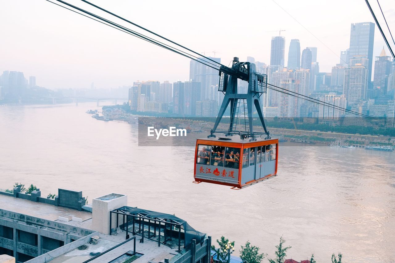 Overhead Cable Car Over Yangtze River In City