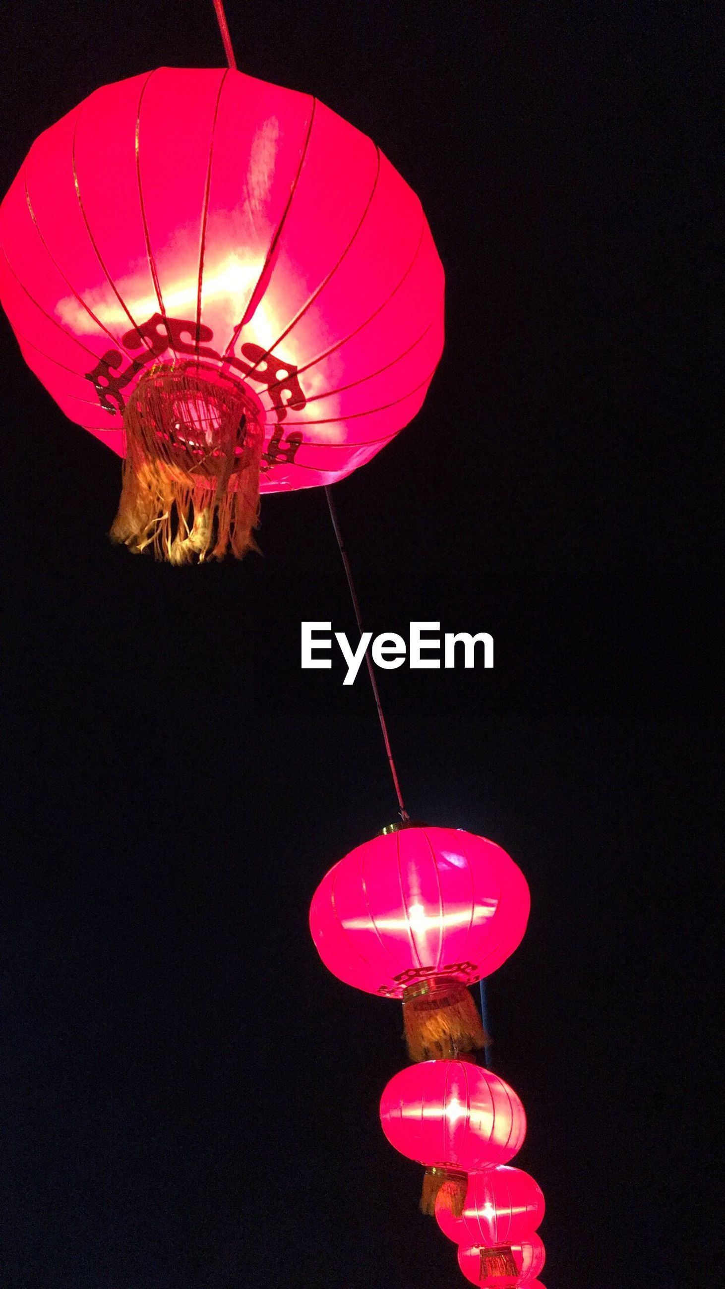 low angle view, illuminated, hanging, chinese lantern, lighting equipment, night, lantern, celebration, chinese lantern festival, no people, chinese new year, red, clear sky, indoors, sky, close-up