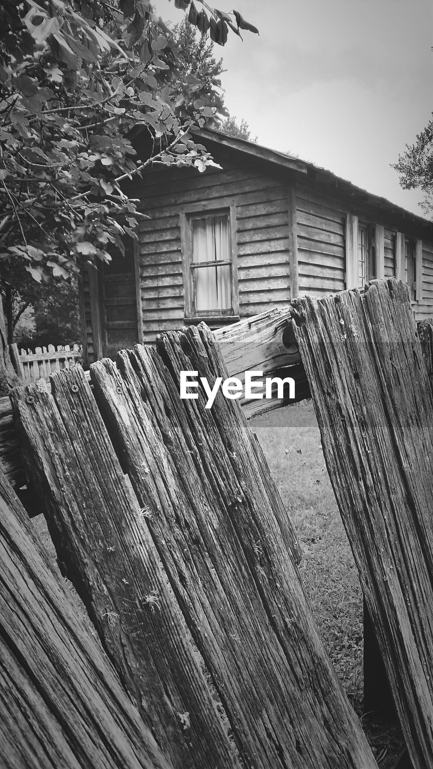 Wooden fence by house
