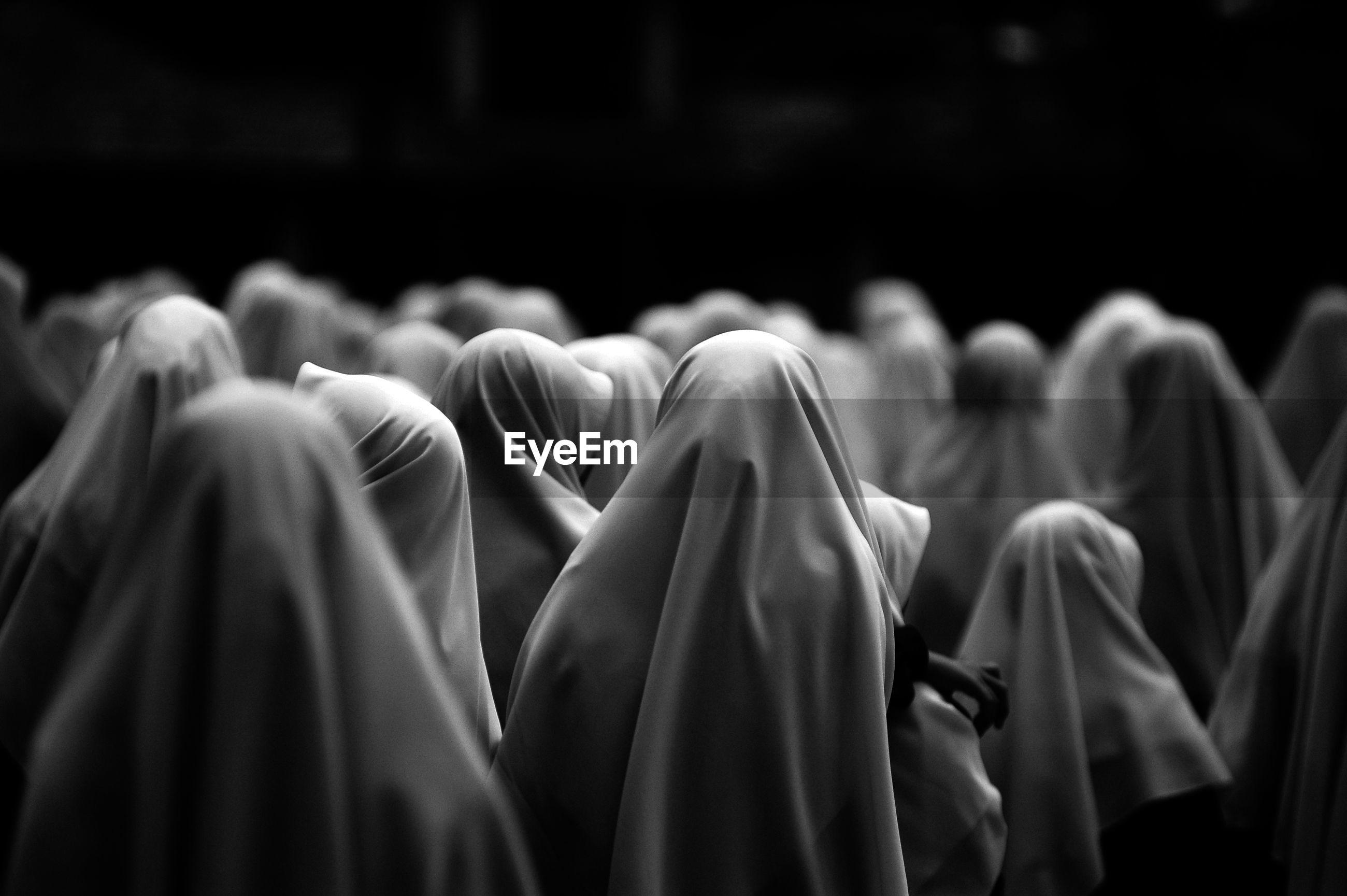 Rear view of muslim women