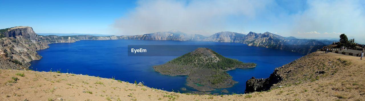 Panoramic View Of Crater Lake Against Sky At Oregon
