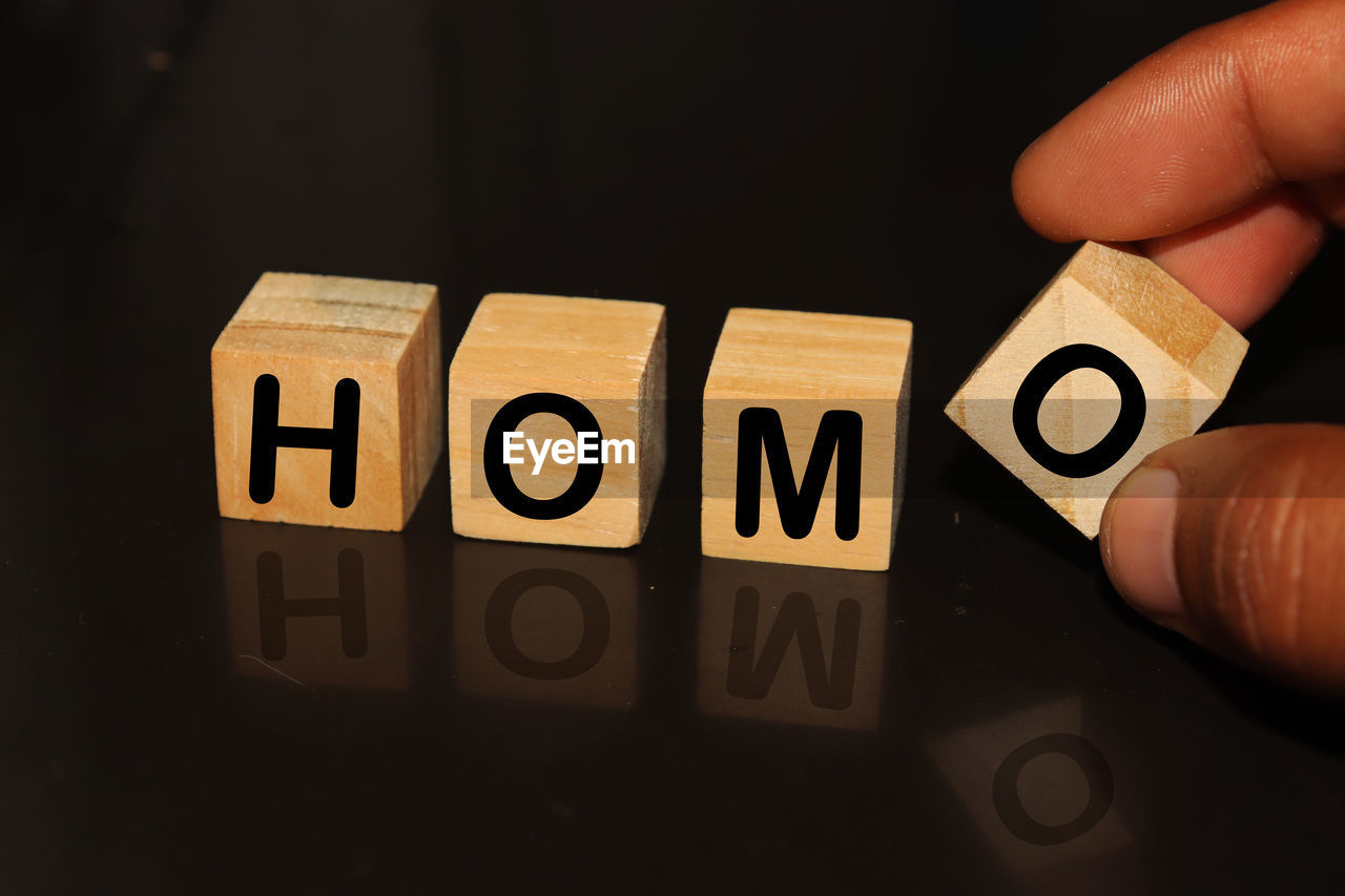 Cropped hand with homo text on toy blocks against black background