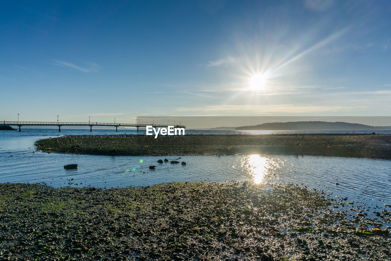water, sky, beauty in nature, scenics - nature, sunlight, sun, tranquility, nature, tranquil scene, transportation, no people, non-urban scene, cloud - sky, sunbeam, day, reflection, idyllic, outdoors, lake, lens flare, bright, bay