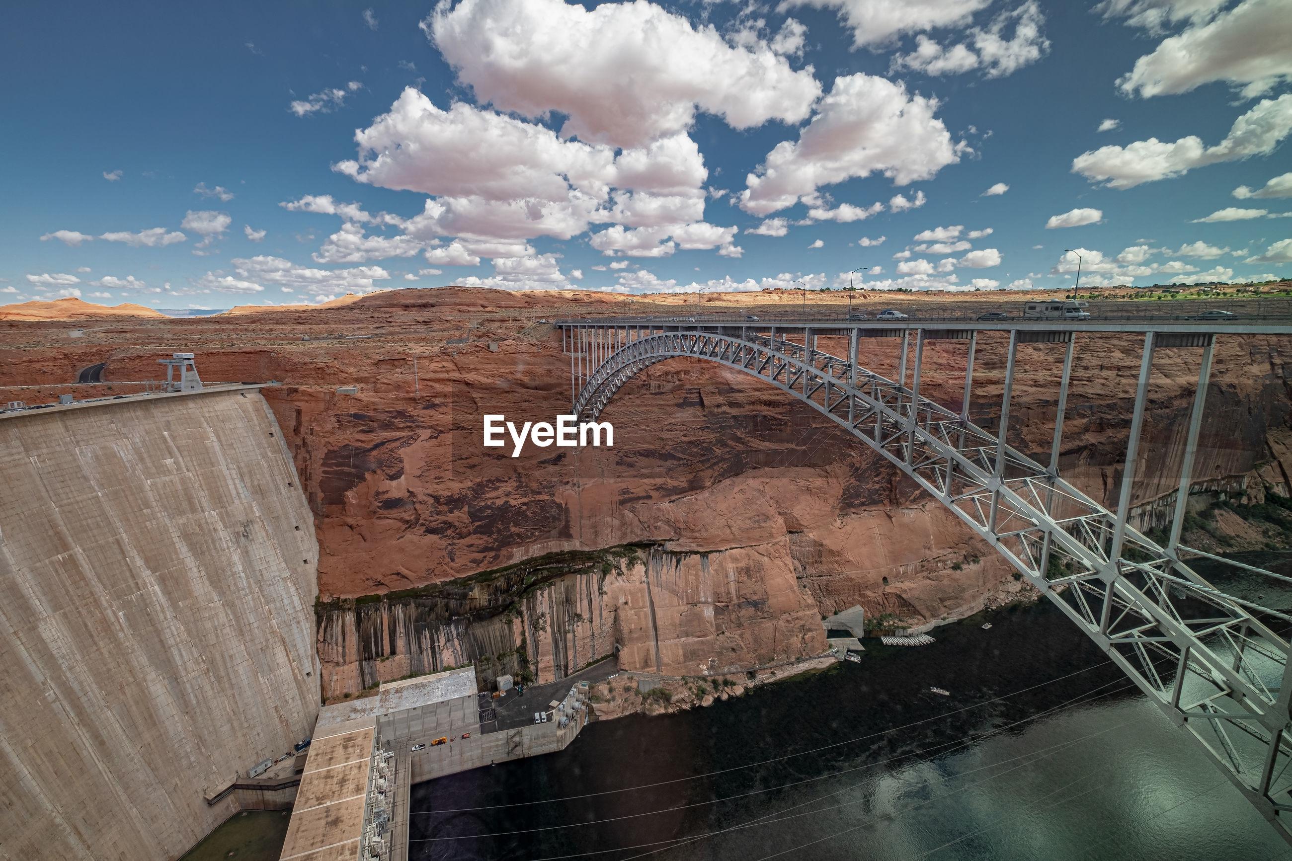 Bridge leading over the colorado river next to glen canyon dam in arizona, usa