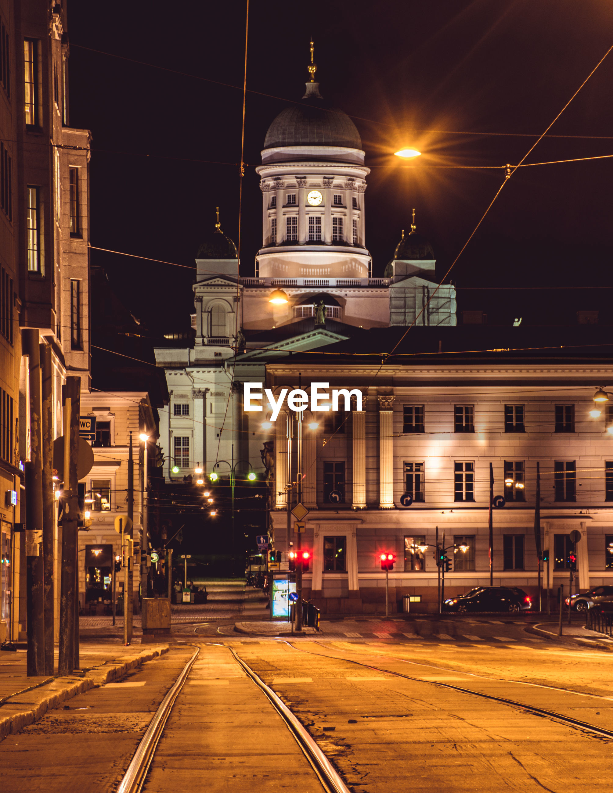 Historic building against sky in city at night