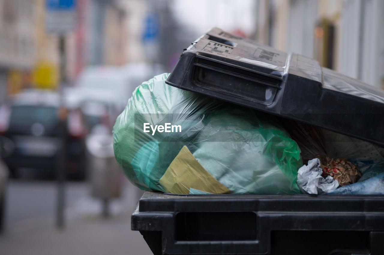Close-Up Of Plastic Bag In Garbage Bin