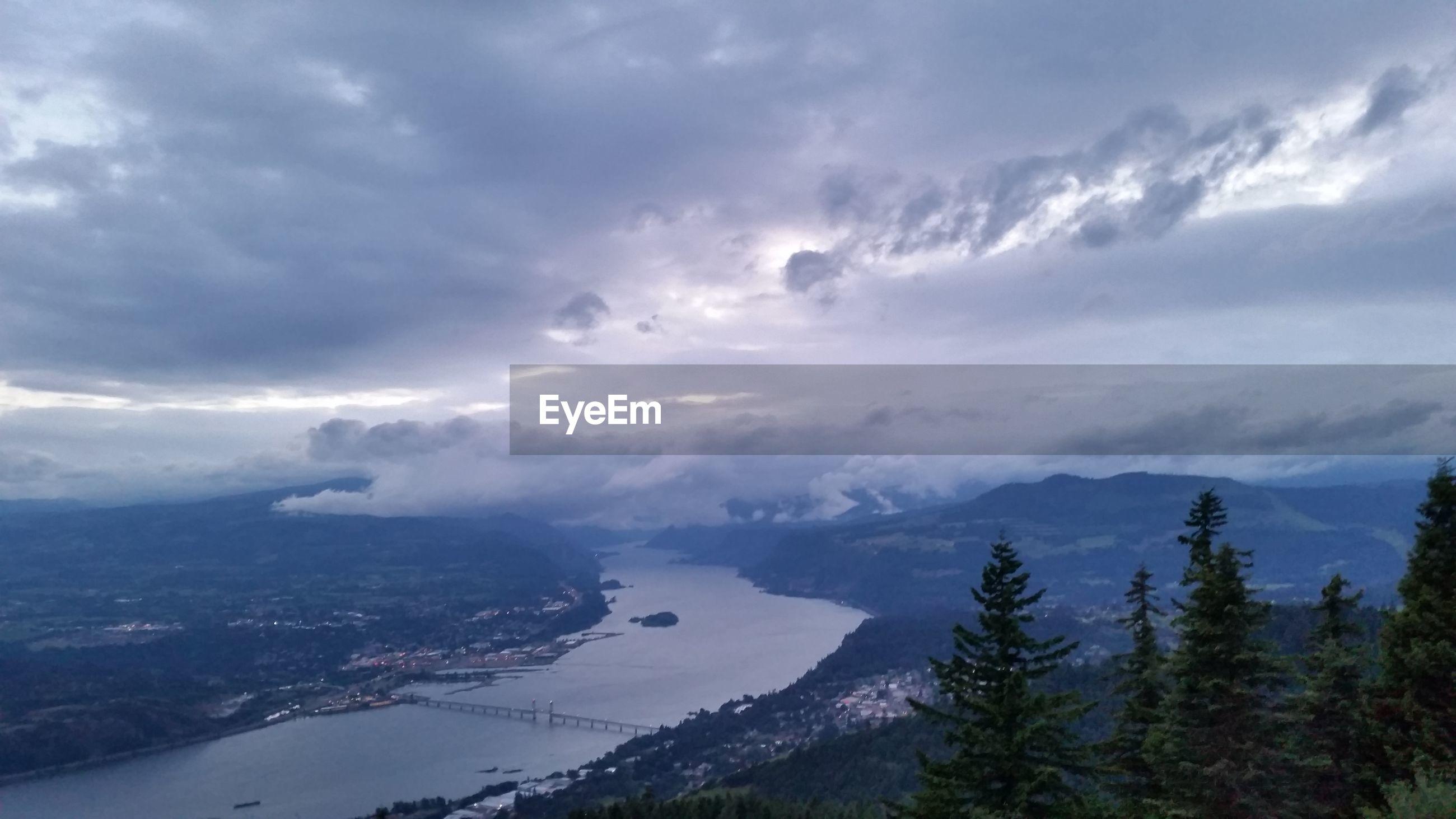 High angle view of lake along landscape