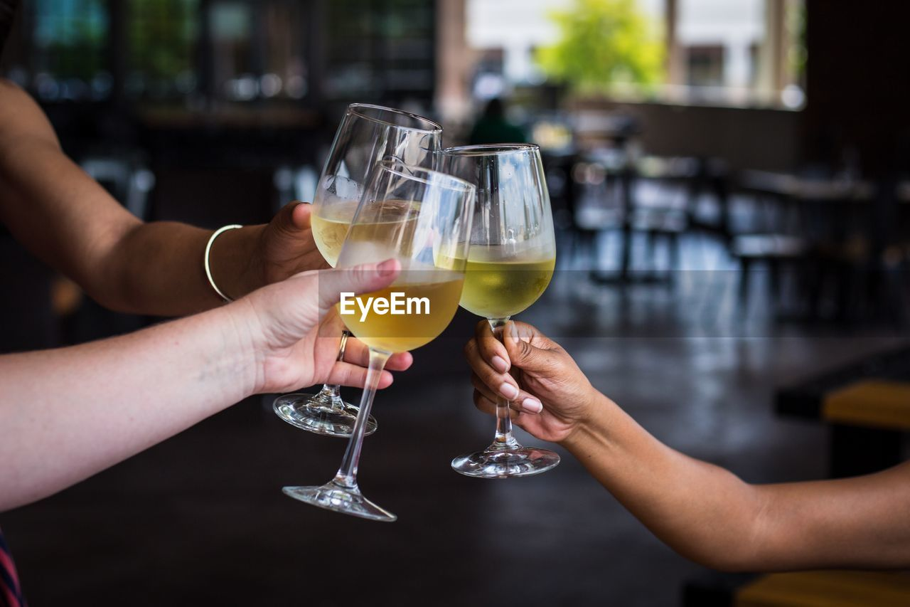 glass, refreshment, human hand, drink, alcohol, holding, hand, food and drink, drinking glass, household equipment, human body part, real people, focus on foreground, celebration, celebratory toast, women, adult, two people, lifestyles, people
