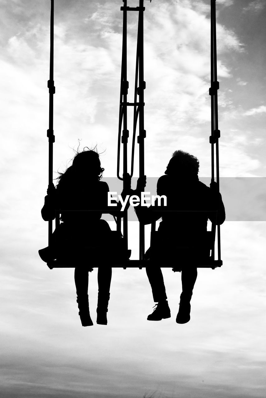 sky, two people, silhouette, cloud - sky, real people, full length, togetherness, nature, women, men, leisure activity, people, rear view, outdoors, lifestyles, day, friendship, adult, bonding, emotion, couple - relationship, sister