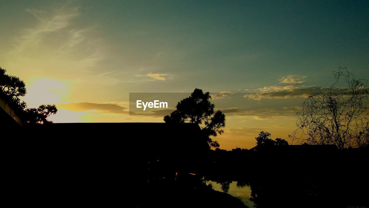 silhouette, sunset, tree, sky, beauty in nature, tranquility, tranquil scene, nature, scenics, cloud - sky, dark, no people, outdoors, day