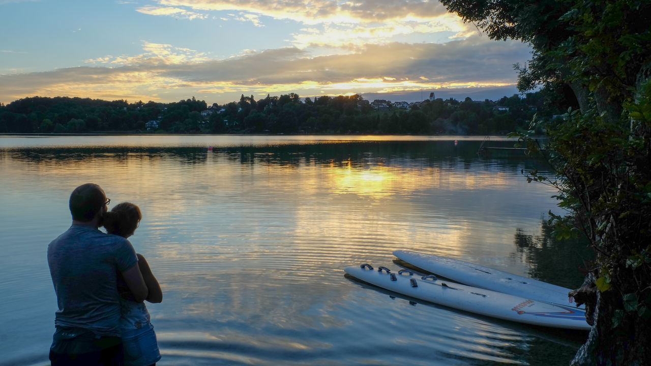 real people, water, rear view, two people, lake, nature, togetherness, boys, sky, outdoors, sunset, leisure activity, beauty in nature, men, lifestyles, scenics, nautical vessel, tree, childhood, standing, day, people