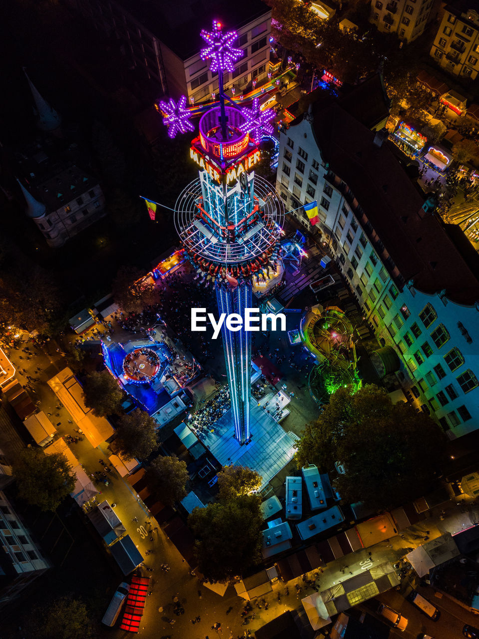 illuminated, night, architecture, low angle view, built structure, amusement park, building exterior, no people, outdoors