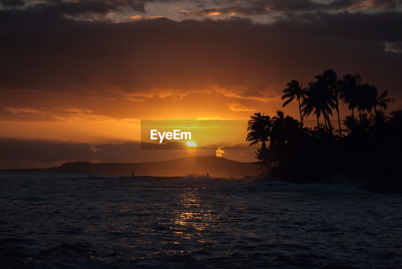 sunset, sky, water, beauty in nature, scenics - nature, sea, waterfront, tranquility, tranquil scene, tree, cloud - sky, no people, nature, idyllic, silhouette, sun, orange color, palm tree, outdoors