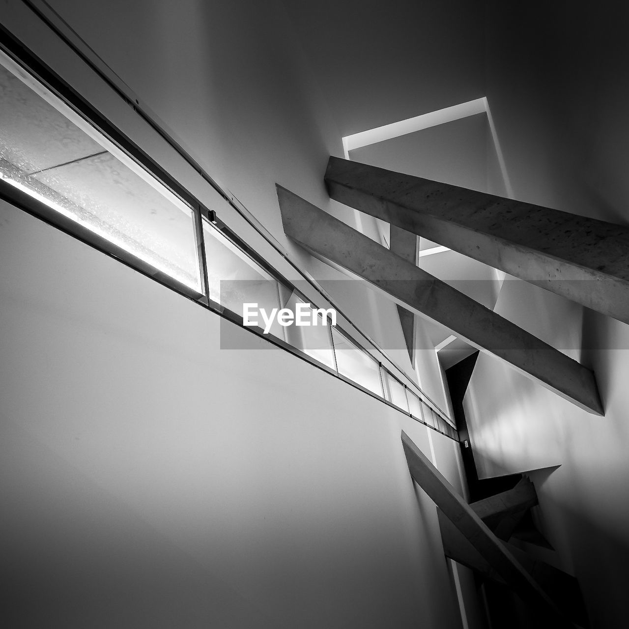 no people, railing, low angle view, indoors, day, built structure, architecture, sky, close-up