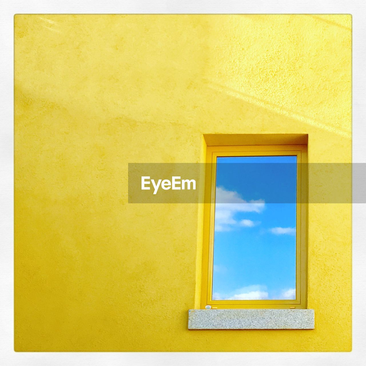 yellow, window, architecture, built structure, building exterior, day, low angle view, sky, no people, indoors, close-up