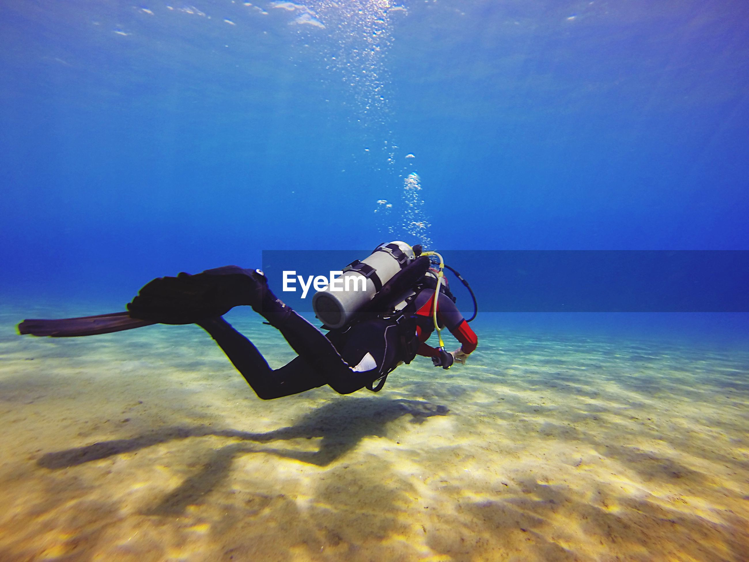 Low angle view of person scuba diving in sea