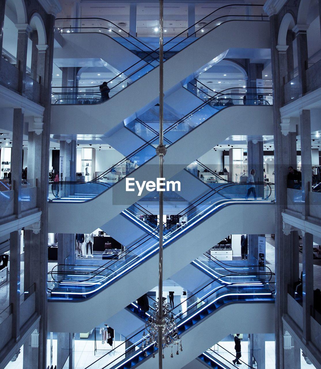 Interior of modern building with escalators