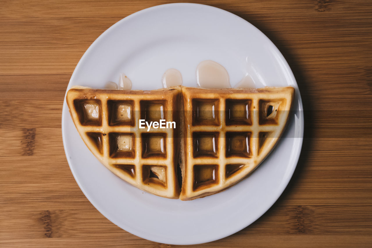 High Angle View Of Waffle In Plate On Table