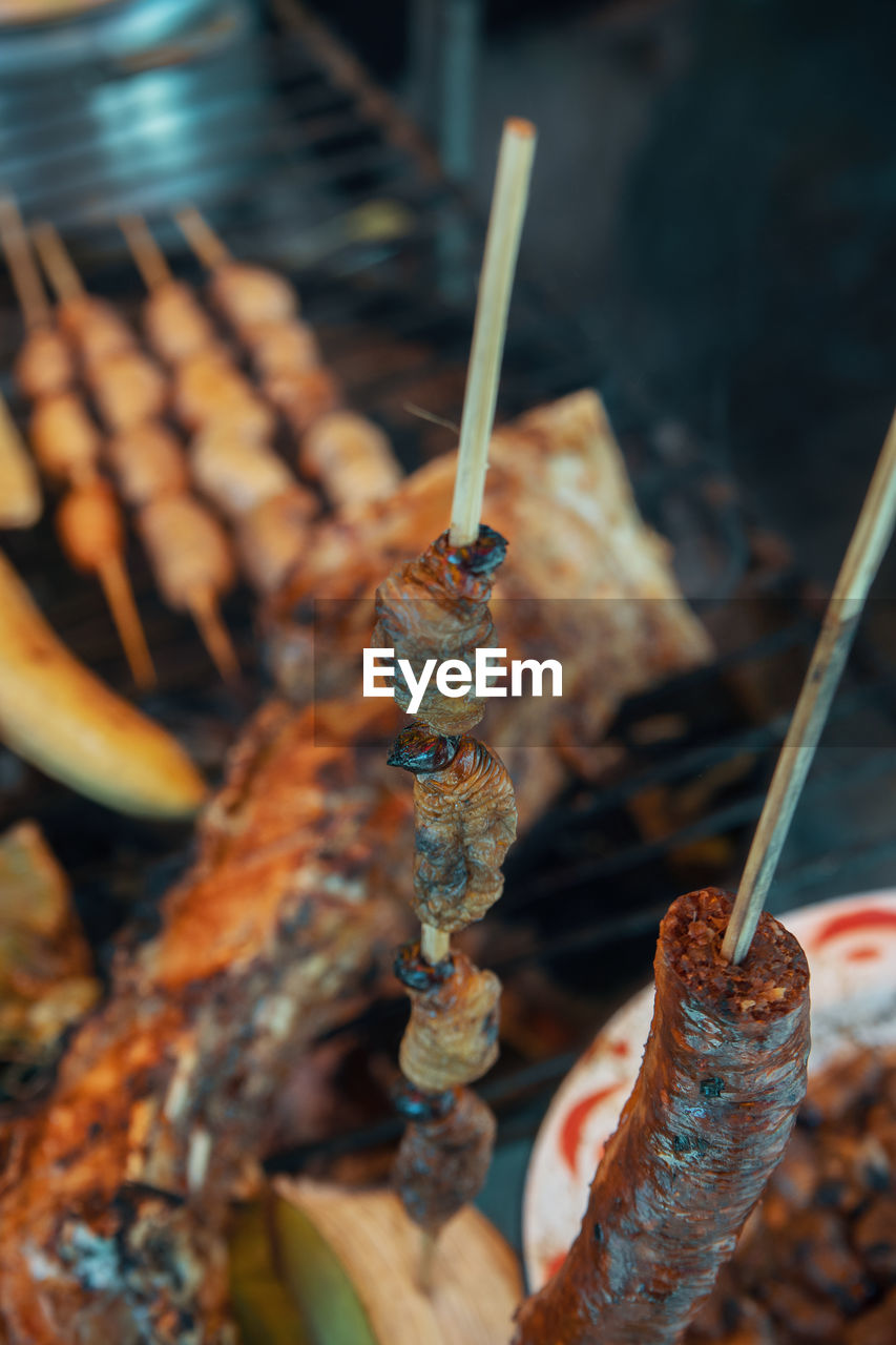 close-up, no people, selective focus, food and drink, food, skewer, ready-to-eat, wellbeing, day, still life, focus on foreground, orange color, indoors, nature, freshness, healthy eating, detail, barbecue, brush