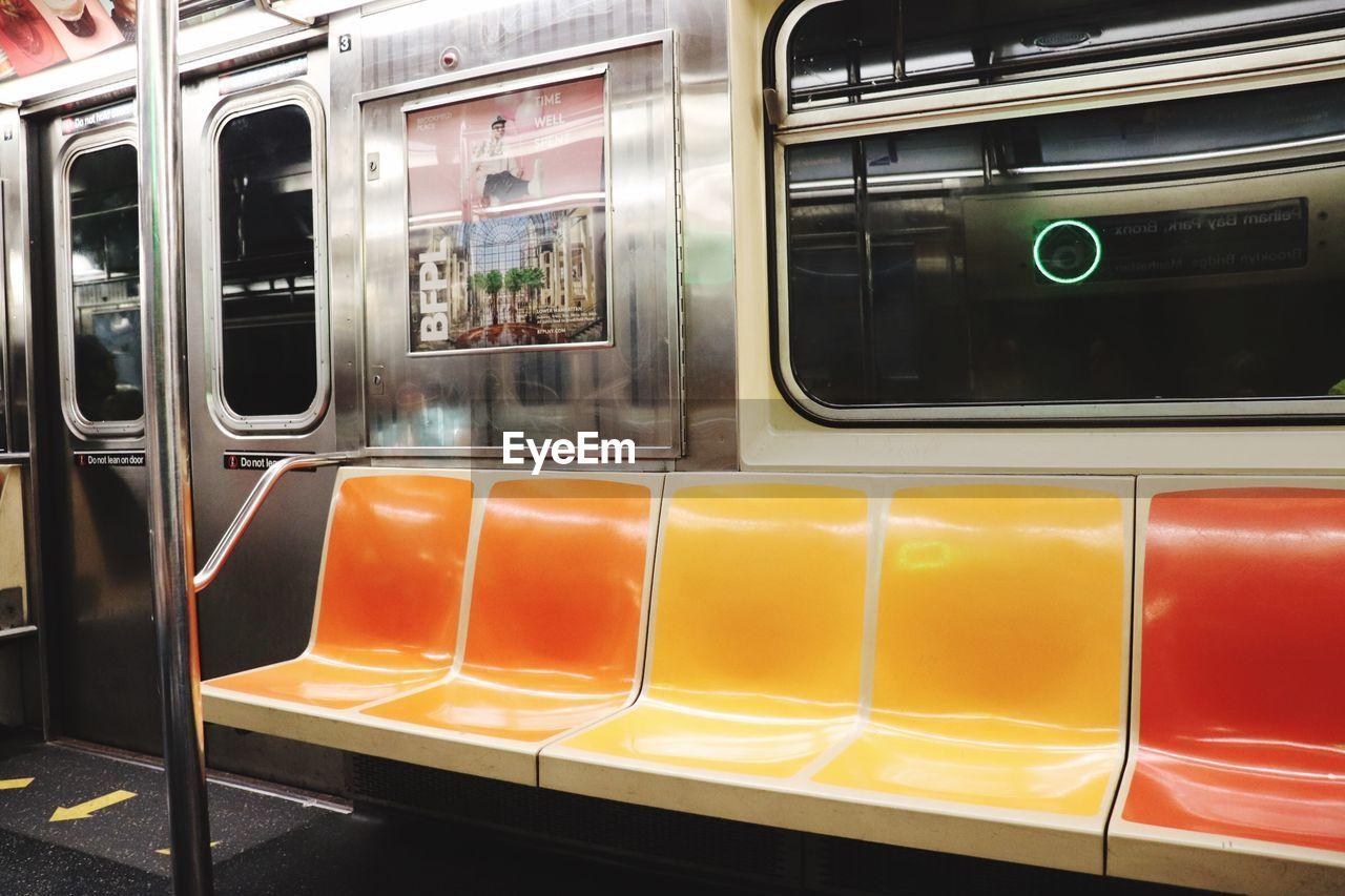 Interior of train in new york