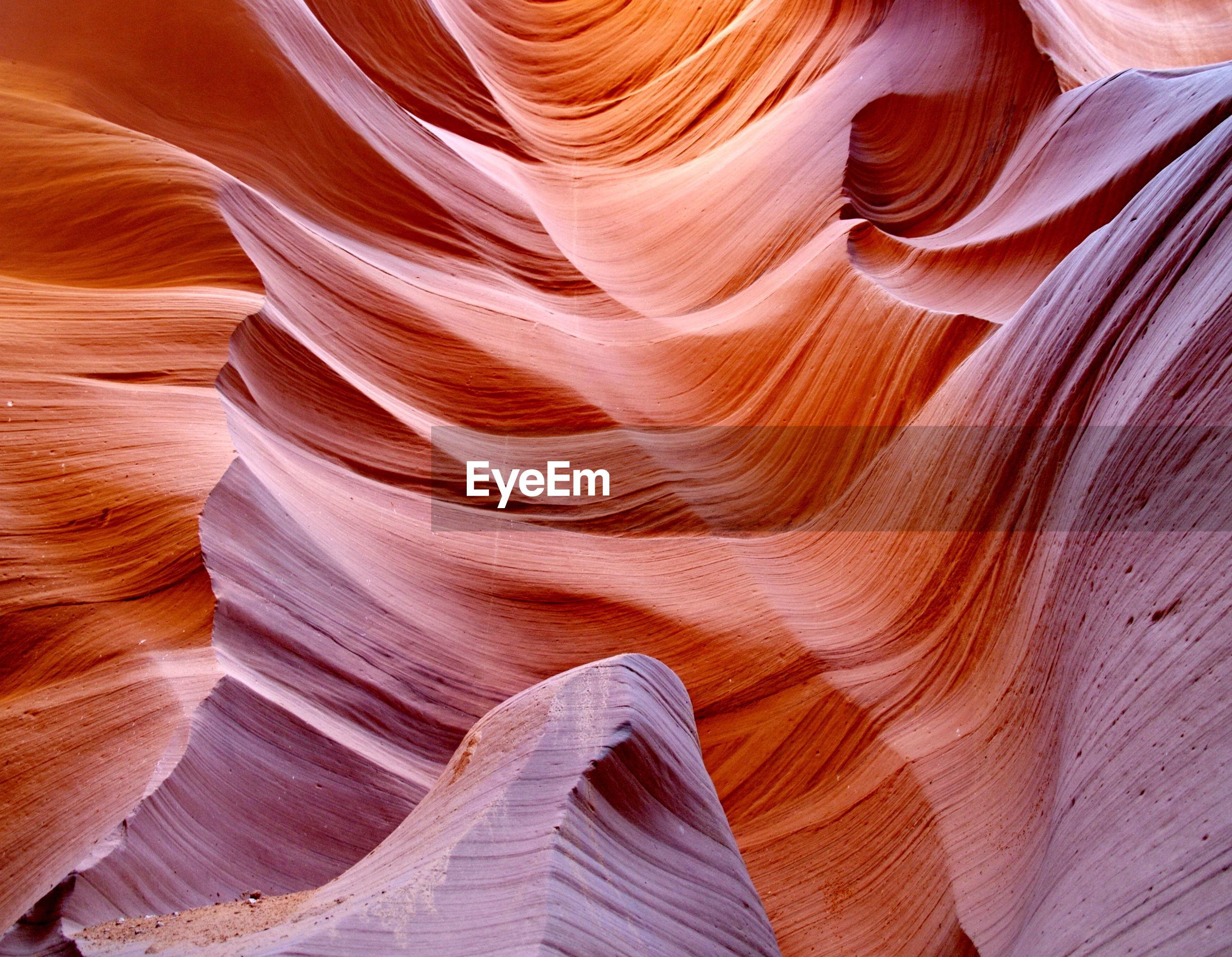 Full frame shot of rock formation at antelope canyon