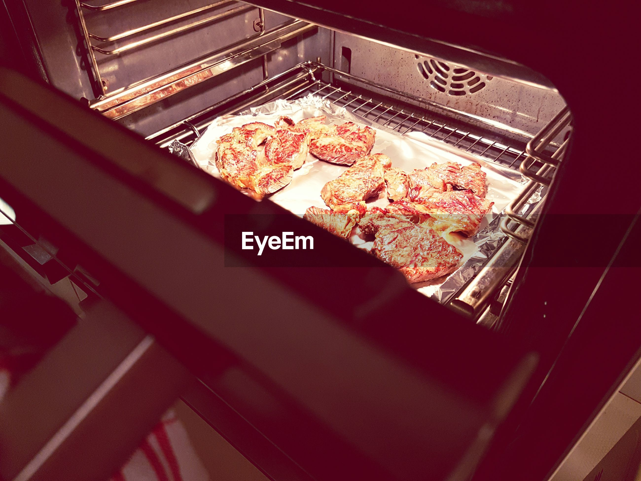 High angle view of food in microwave oven