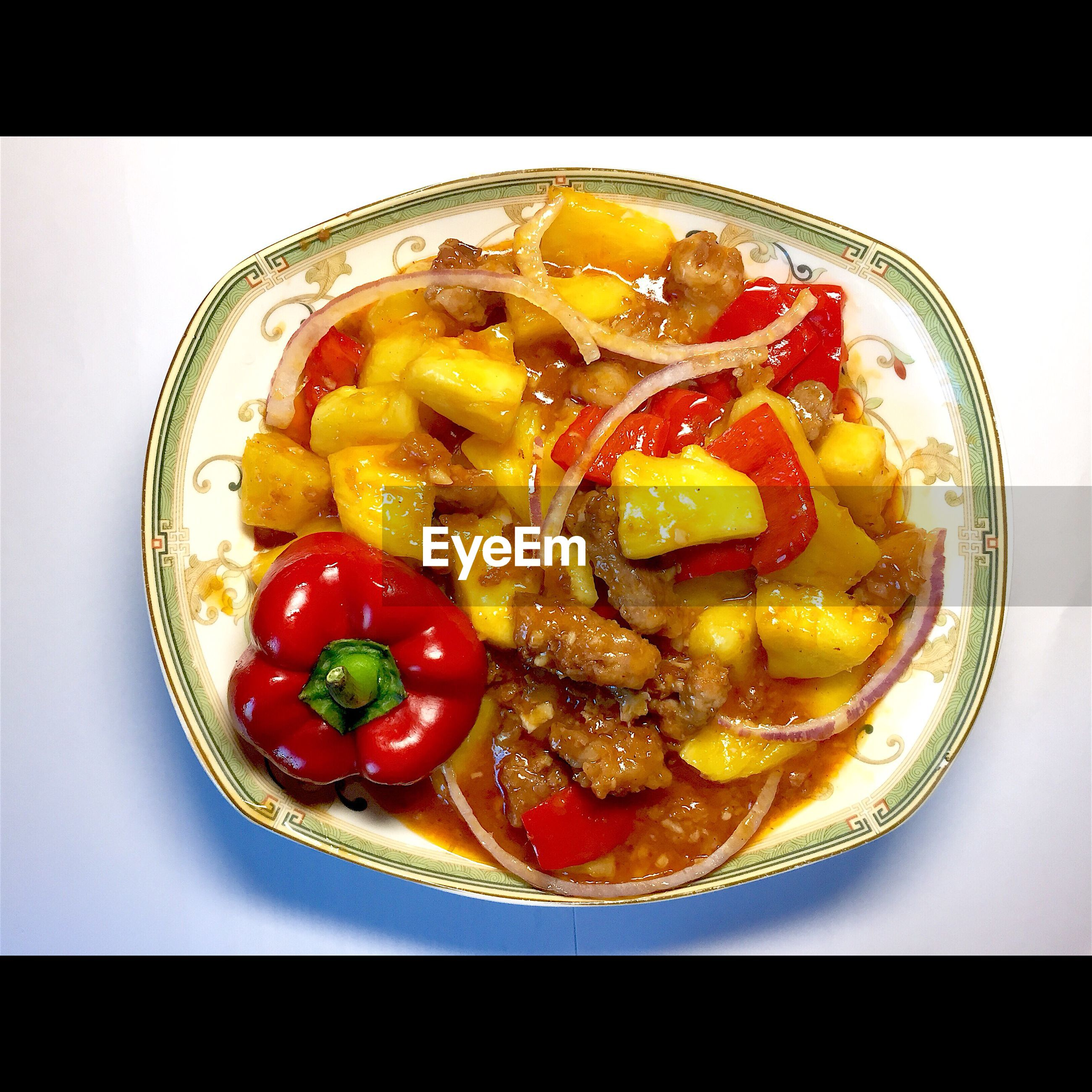 food, food and drink, freshness, indoors, ready-to-eat, plate, still life, healthy eating, serving size, meal, transfer print, table, indulgence, close-up, slice, auto post production filter, high angle view, directly above, meat, garnish