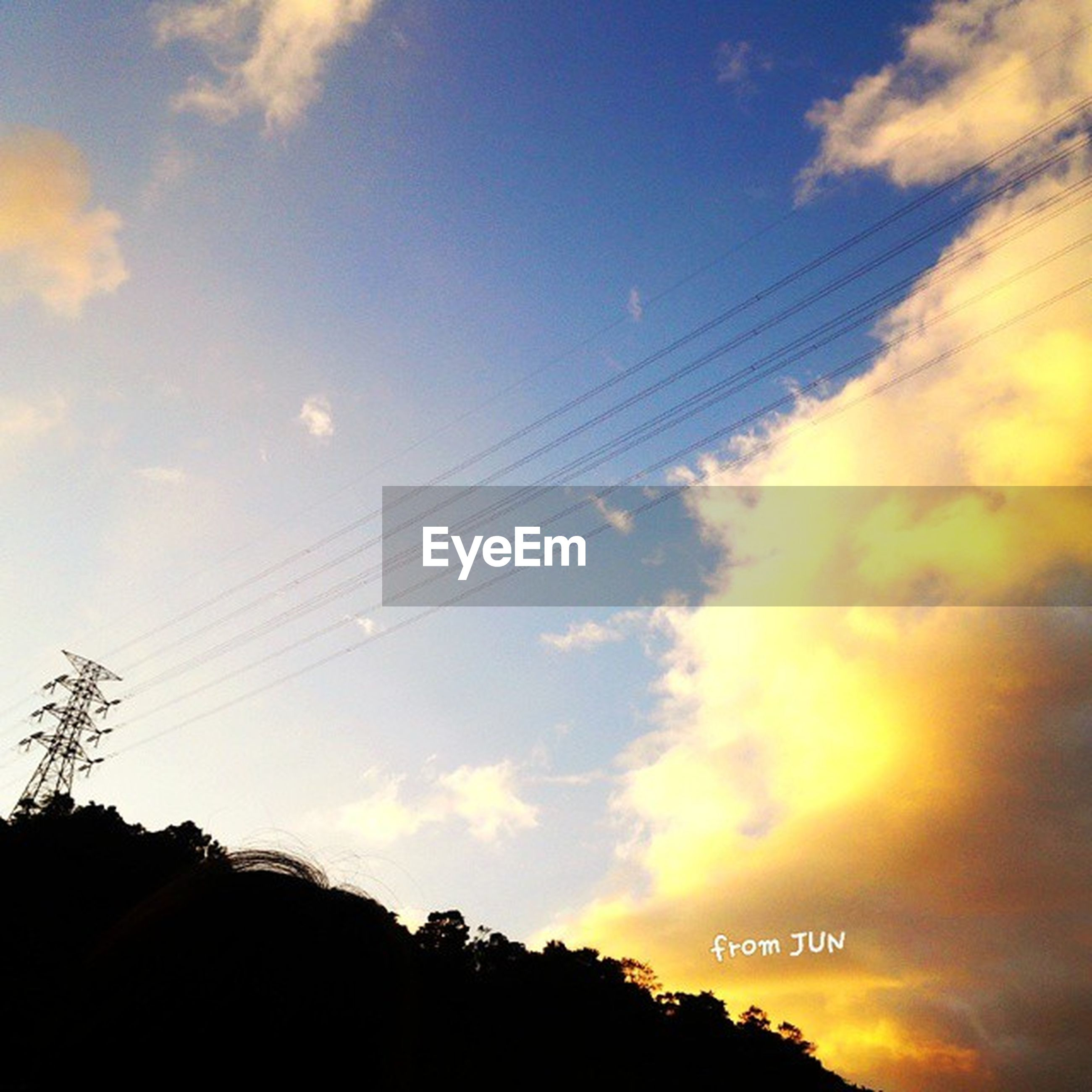 power line, sky, sunset, silhouette, low angle view, electricity pylon, cable, cloud - sky, power supply, connection, electricity, beauty in nature, tree, scenics, cloud, tranquility, nature, cloudy, tranquil scene, power cable
