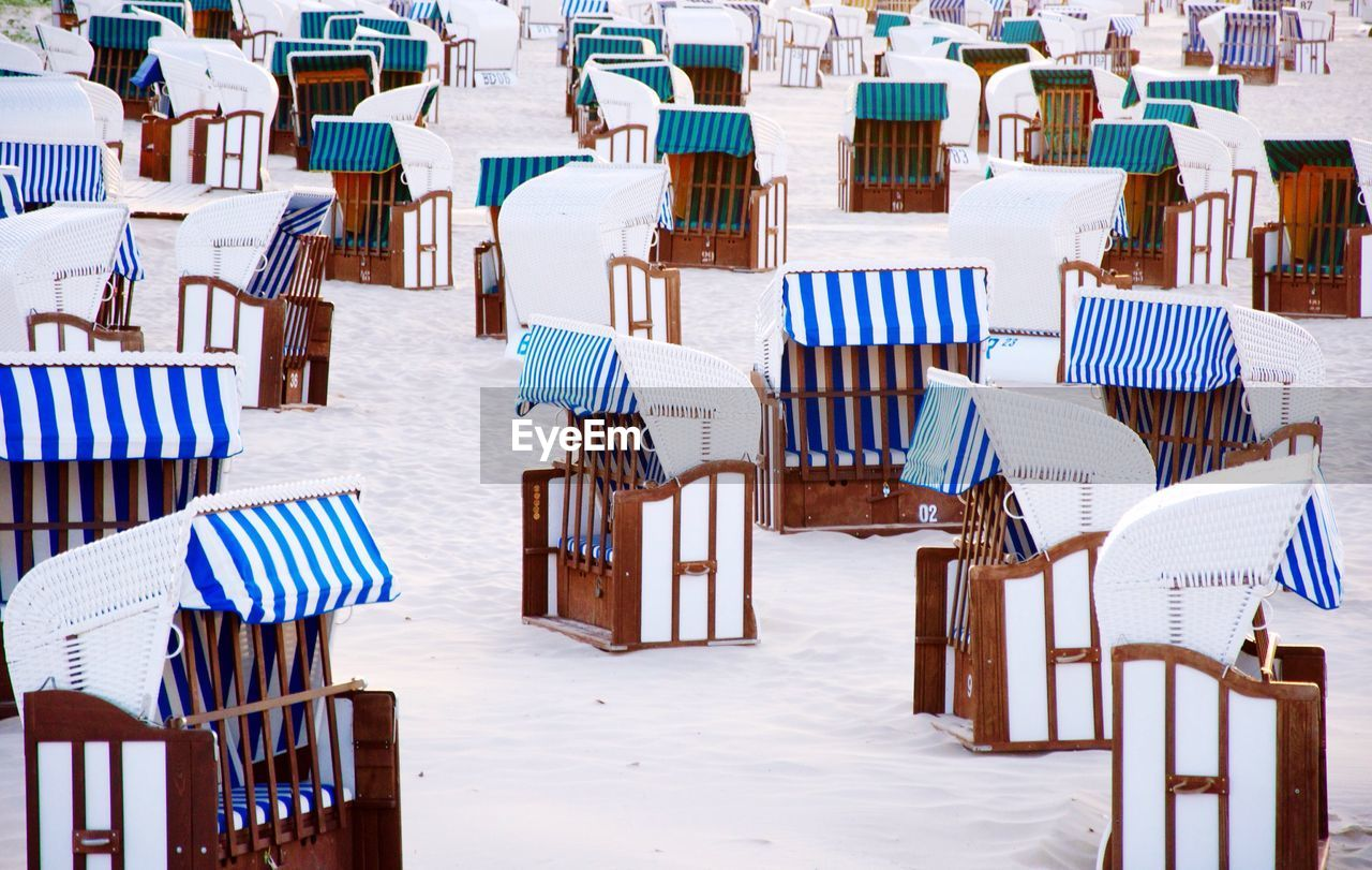 Hooded Beach Chairs On Shore
