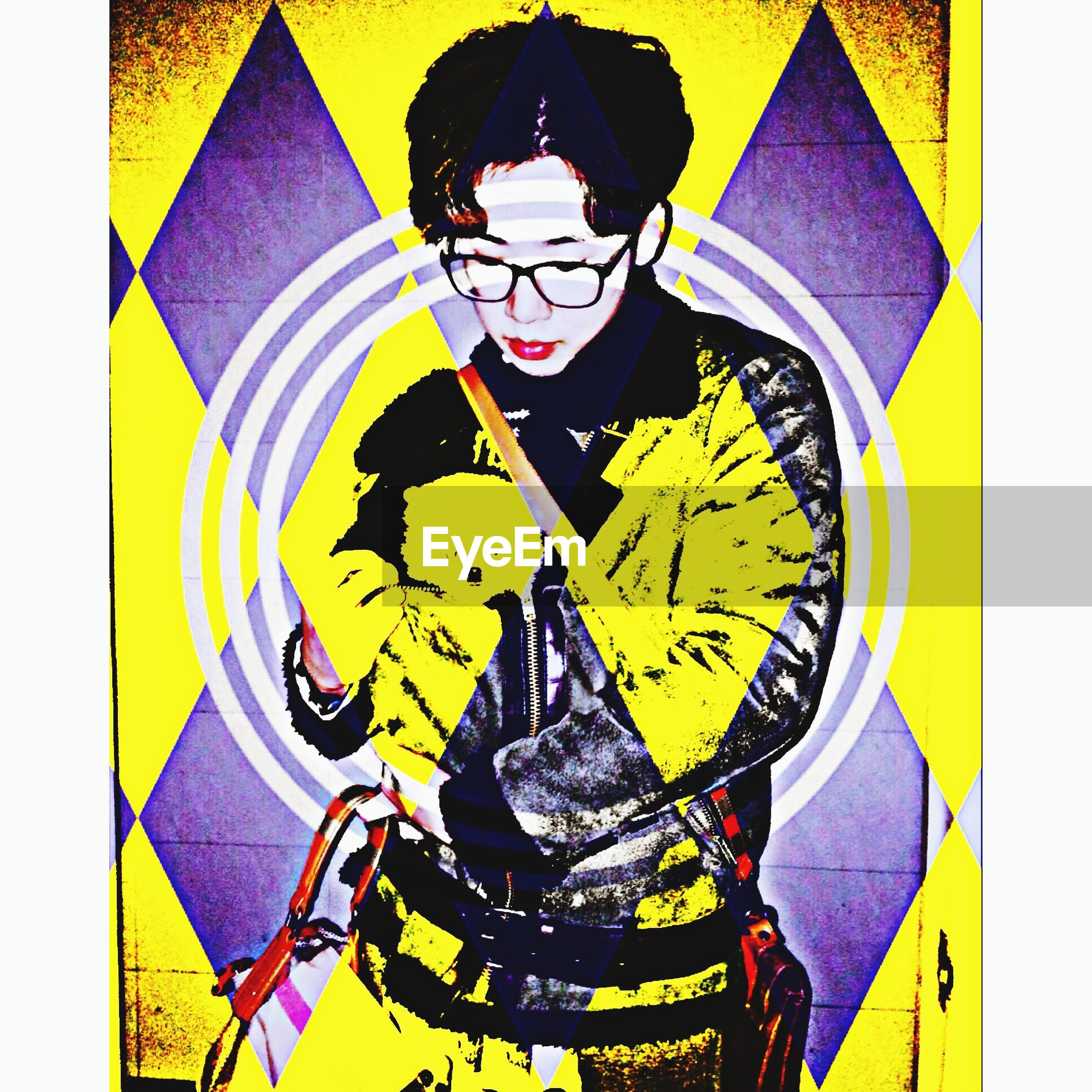 transfer print, auto post production filter, yellow, creativity, art, art and craft, multi colored, wall - building feature, digital composite, indoors, lifestyles, human representation, built structure, leisure activity, graffiti, day, pattern, architecture