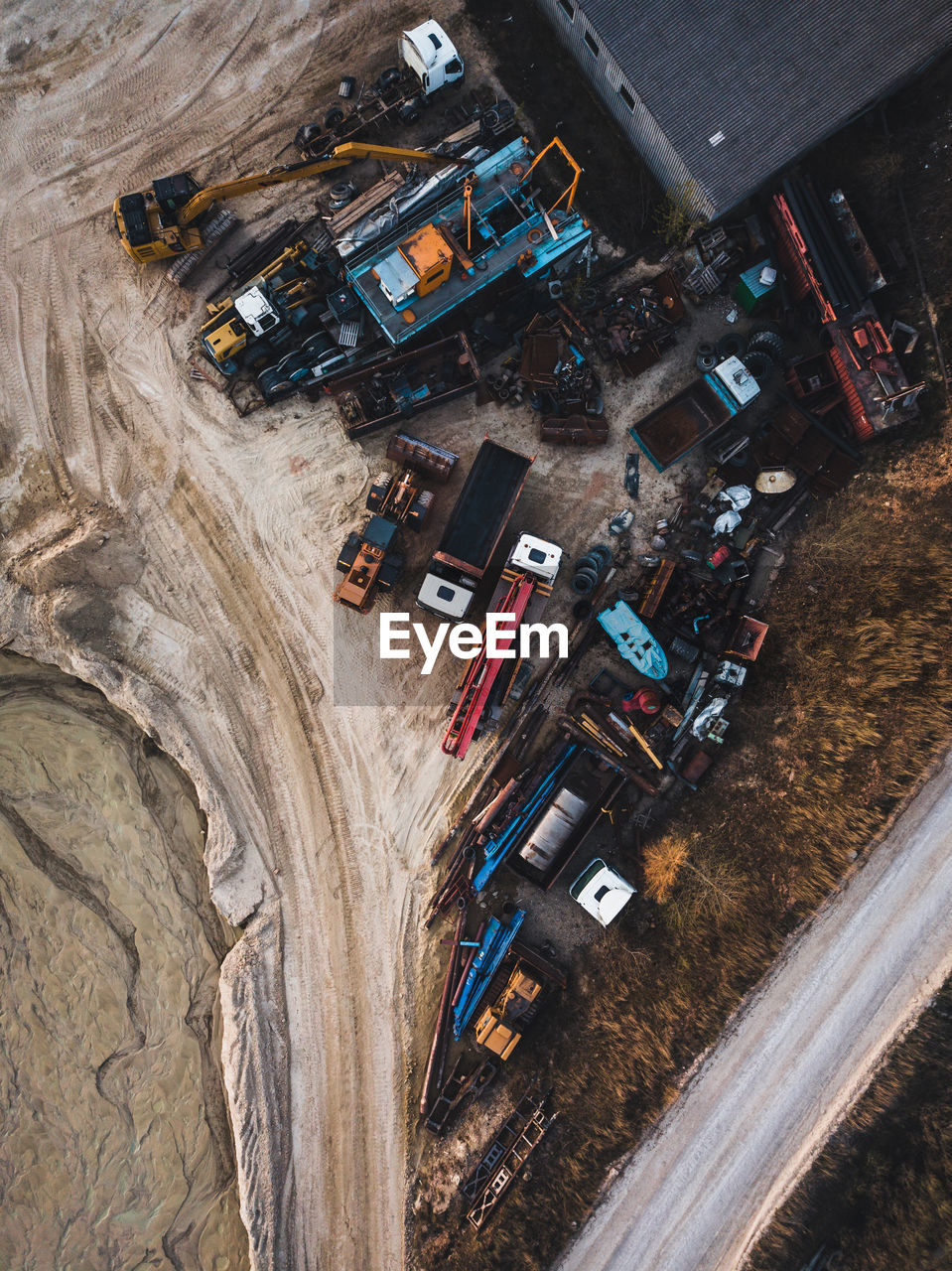 Aerial view of construction machinery on site