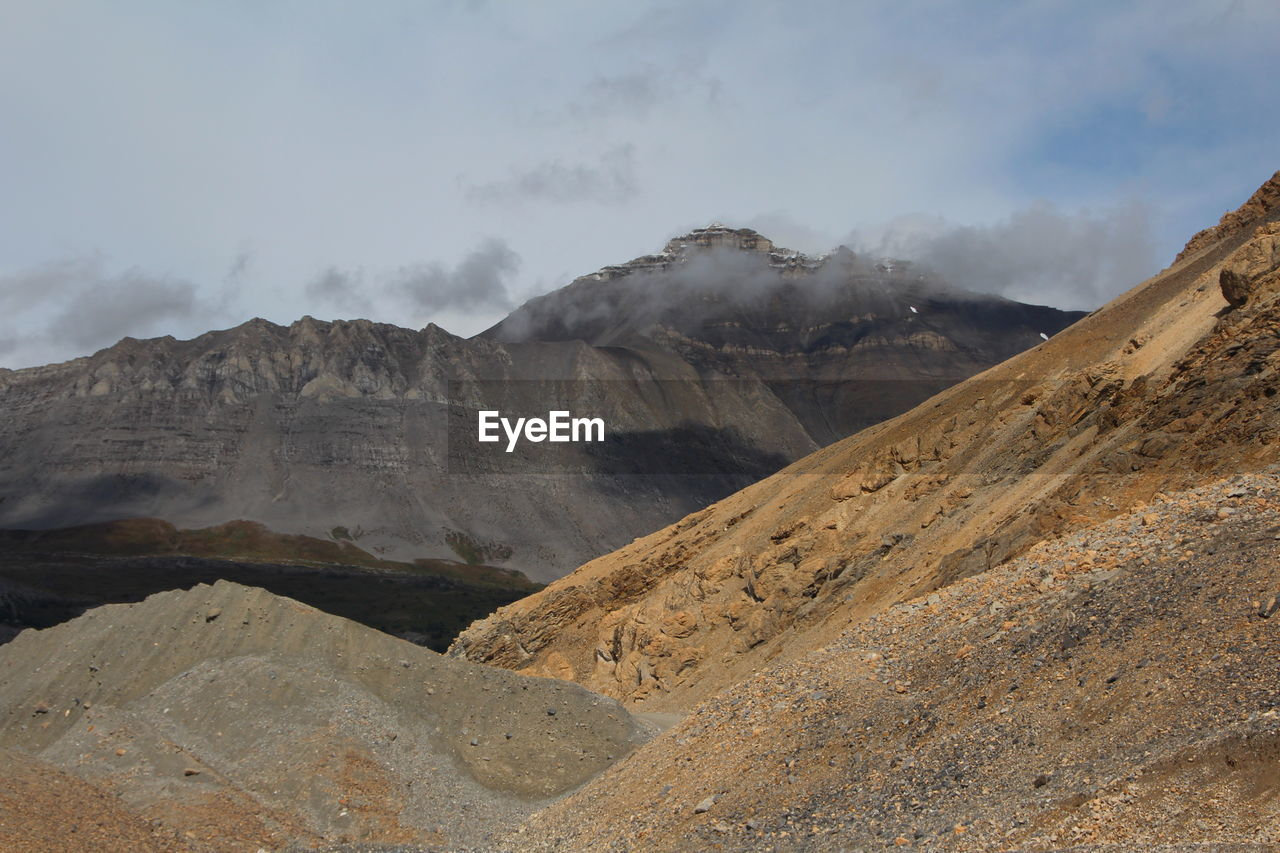 mountain, landscape, scenics - nature, environment, sky, cloud - sky, beauty in nature, non-urban scene, tranquil scene, mountain range, tranquility, physical geography, geology, nature, no people, desert, remote, extreme terrain, idyllic, smoke - physical structure, outdoors, arid climate, climate, formation, mountain peak